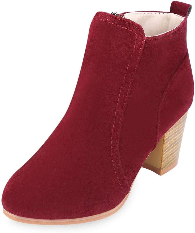 Eliteshopy Stylish Side Zipper Scrub Martin Boots Pure color Women High Heel shoes