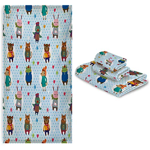 3 Piece Towel Set - Collection of Animals with Winter Clothing Hats Hot Coffee on a Dotted Background - Soft and Thick Towel-Machine Washable