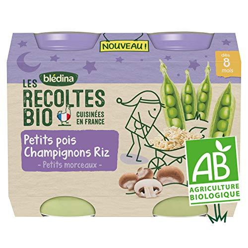 Blédina Les Récoltes Bio, Petits pots bébé Bio dès 8 Mois, Petits Pois, Champignons, Riz,...