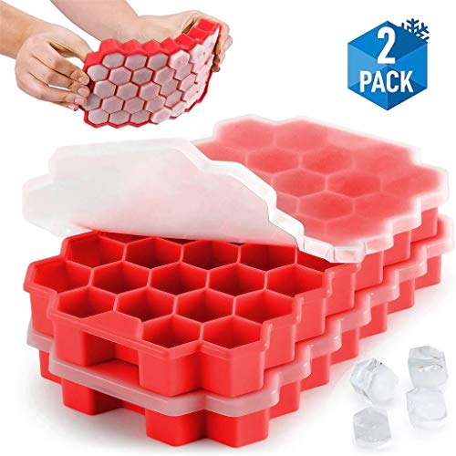 Xisheep Ice Tray, Honeycomb Shape Ice-Cube Maker Ice Tray Ice Trays Mold Storage Containers 2pcs, Home & Garden (Red)