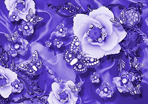 wandmotiv24 Fototapete lila Blumen Diamanten XL 350 x 245 cm - 7 Teile Fototapeten, Wandbild, Motivtapeten, Vlies-Tapeten Ranke, Schmetterling, Abstrakt M3588