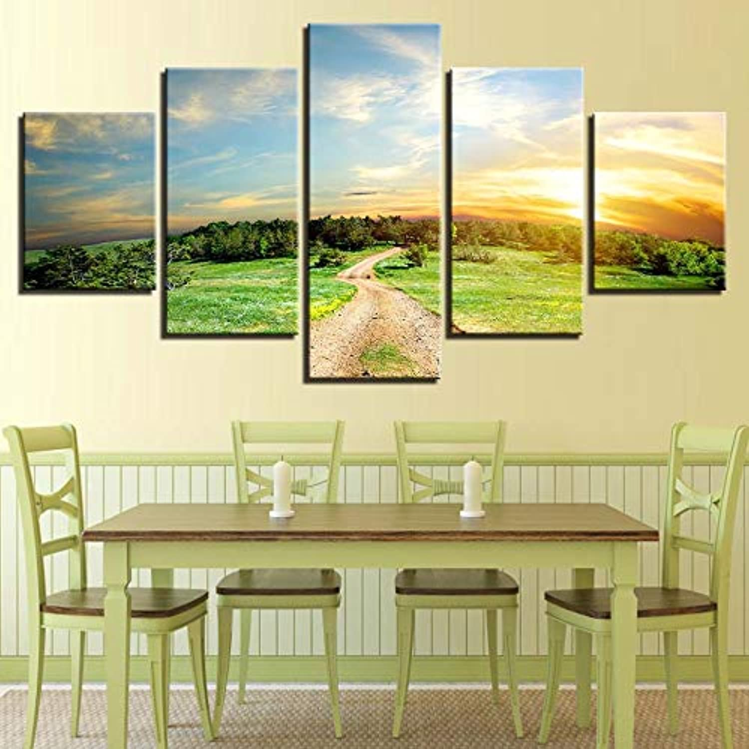 Loiazh  Image Printed On Non Woven Canvas  Wall Art Print Picture  Photo  5 Pieces  Frameless  Small Road 55x22 45x20x2 35x20x2(cm)