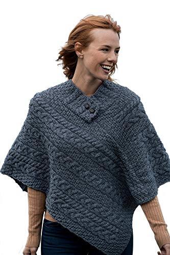 Poncho irlandés 100% lana merina para mujer fabricado en Irlanda - azul - talla única