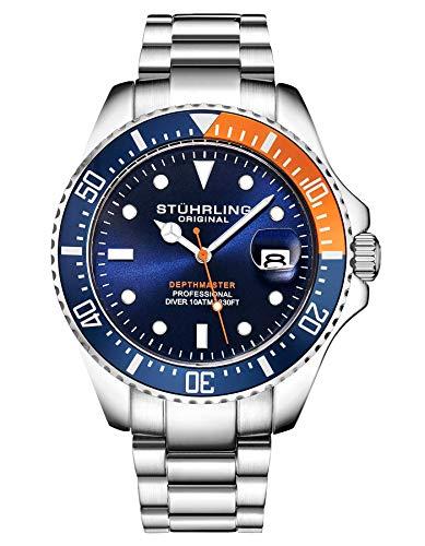 Stuhrling - Reloj de Buceo para Hombre, diseño de Buceo Deportivo con Corona de Rosca y Resistente al Agua hasta 100 m, Esfera analógica, Movimiento de Cuarzo (Naranja/Azul)