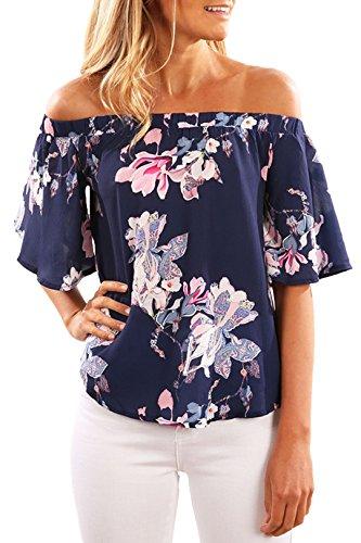 YOINS Off Shoulder Top Tunika Damen Bluse Elegant Schulterfrei Oberteil für Damen Blumenmuster-08 EU44