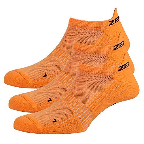 Zen Core orangene Sneaker Füßlinge 3, 6, 12 Paare, Größe 40-43 & 44-47 für Herren, kurze Socken, Laufsocken, Fitness, Fahrradfahren, Running Socken, Atmungsaktiv, Antiblasen