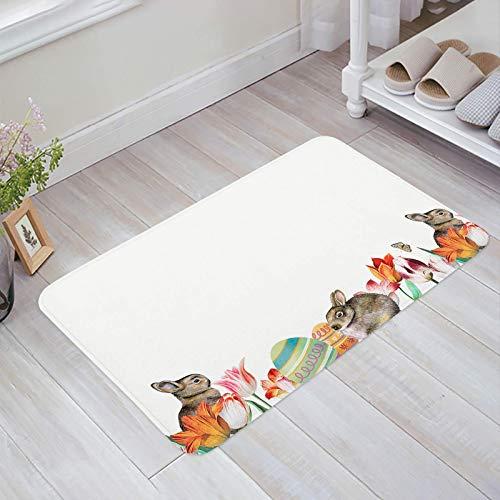 Alfombra estera del piso Tapetes Felpudo Pascua Conejos Tulipán Floral Primavera Temporada alfombras 40X60CM