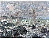 SXXRZA Arte de la Pared de la Lona 70x80cm Sin Marco Redes de Pesca de Claude Monet en Pourville Arte de la Pared sin Marco Impresión del Cartel...