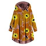 iHENGH Damen Herbst Winter Bequem Lässig Mode Jacke Frauen Mode Frauen Knopf Mantel Flauschige Schwanz Tops Mit Kapuze Lose Mantel(Orange, S)