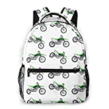Green Dirt Bike Backpacks College School BookBag Travel Bag Laptop Daypack