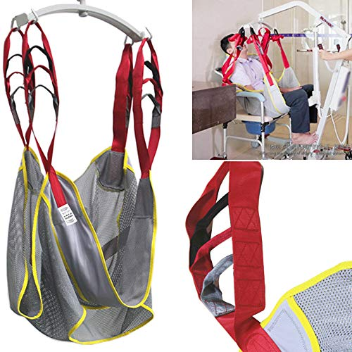 Patient Lift Medical Mesh Bath Shower Toilet Sling Transfer Gait Belt Aids Leg Feet Strap Lifting Cushion Chair with Commode Opening Seat for Elderly Senior Invalid Handicap AnyBack Free Size Gray
