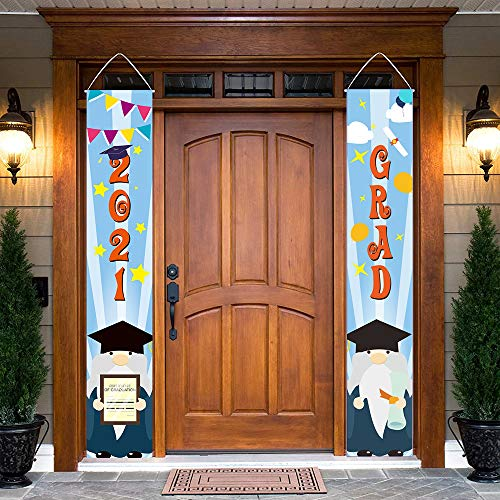 Gehydy Graduation Gnome Porch Banner Front Door Welcome Sign Decoration 2021 New for Graduation Theme Outdoor Indoor Home Party Décor (2 Pcs)