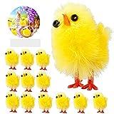 Tetysun - 60 piezas de pollitos de Pascua pequeñas, adorables decoración de Pascua pequeña y bonita chenilla amarilla para Pascua