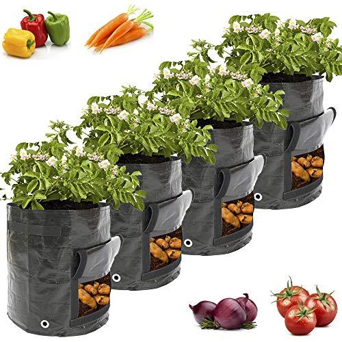 Pflanzen Tasche, 4 Stück Kartoffel Pflanzbeutel, Pflanzsack PE Grow Bag mit Griffe für Kartoffeln, Tomaten, Blumen, Süßkartoffeln und Mehr