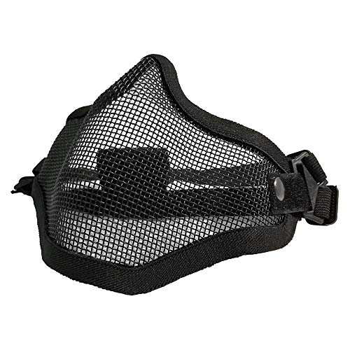 Tactical Airsoft Half Face Mask Foldable Comfortable Lower Face Tactical Wire Steel Metal Net Mesh Protective Mask for with Outdoor Airsoft BK CS War Game BB Gun Hunting Paintball Black