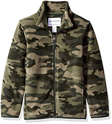 Amazon Essentials Kids Boys Polar Fleece Full-Zip Jacket, Camo Print, X-Small