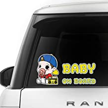 [CUSTOMI] Rapper Baby on Board ENG-RAPPER-001 - Full Color Car Window Safety Sign Decal Sticker - Yellow, Baby Blue, Red