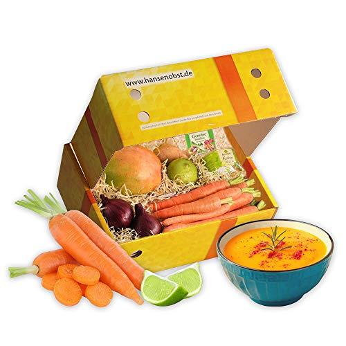 Kochbox Möhren-Kokos-Suppe mit allen Zutaten für eine Suppe mit Möhren und Kokosmilch in klassischer Geschenkbox