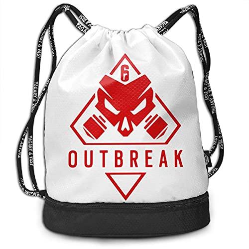 Backpack,Mochila Rainbow Six Siege, Mochilas Multifuncionales De Moda con Cordón para Gimnasio Al Aire Libre,39x41x17.5cm