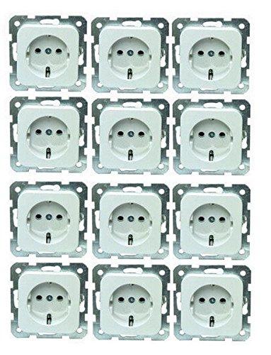 12 Stück Schuko-Steckdosen Kombi-Einsätze EGB ELEGANT el-080500x12 reinweiß Profi-Pack