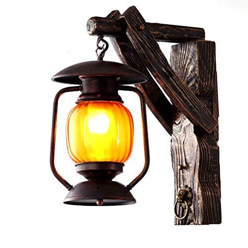 YLCJ industriële landhuisstijl lantaarn landhuisstijl landhuisstijl houten wandlamp klassiek met glazen kap voor balkon Corridoio woonkamer bar schaal E27 MAX40W