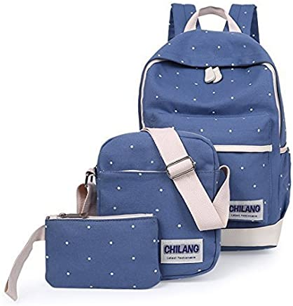 Aseun New Preppy Style Three Piece Wave Canvas Students Backpack Women Backpack Travel Bags (Sky blue)