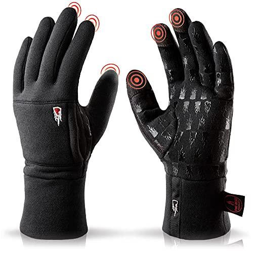 THE HEAT COMPANY – Merino Liner PRO – Warme Merino Handschuhe – Premium Qualität – Touchscreen Winterhandschuhe aus Wolle: Damen & Herren – Laufhandschuh, Fahrradhandschuh, schwarz, Gr. 8-9