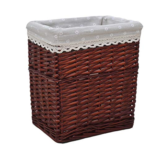 Rattan mand geweven mand met deksel Family grote kleding, speelgoed opslag mand Wasmand (Color : Brown-B, Size : S(35 * 32 * 22cm))