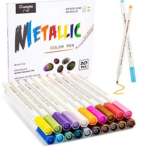 Huttoly Metallic Stifte,20 Farben und 1 mm feiner Metallic Marker Stifte,Metall marker,Metallischen...