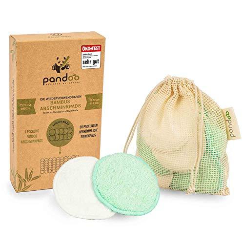10 almohadillas de maquillaje reutilizables de bambú y algodón | Removedor de maquillaje lavable,...