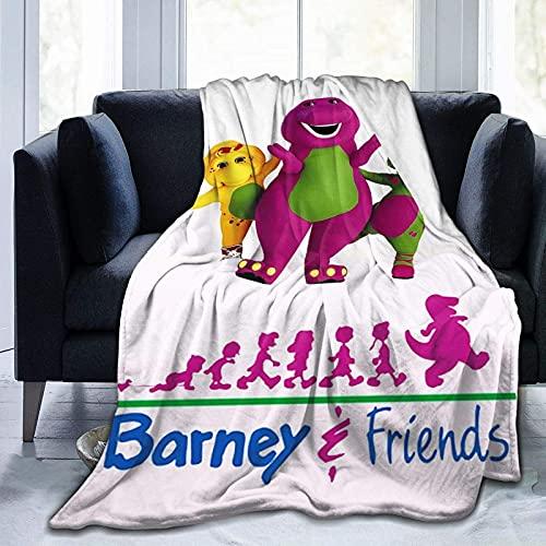 Womoy Barney-The-dinosaurio manta colcha sofá para cama al aire libre decoración de sala de estar 80 'x 60' niño adolescente mujer hombre