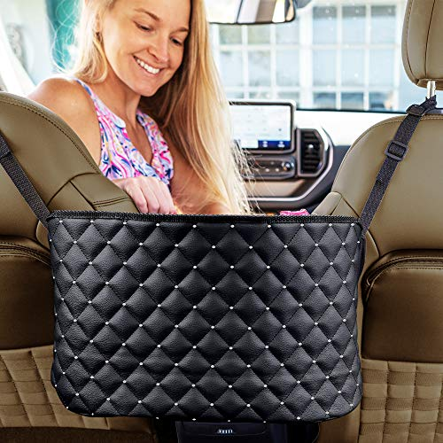Eveco Purse Holder for Cars - Car Purse Handbag Holder Between Seats - Auto Storage Accessories for Women interior - Automotive Consoles & organizers Net Pocket for Front Seat (black+diamond)