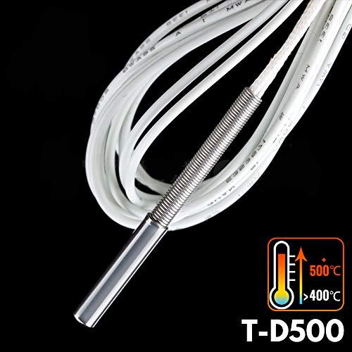 1 unidad impresora 3D 500 ℃ termistor T-D500 M3 x 15 mm sensor cilíndrico de alta temperatura 500 ℃ K500 sensor de termopar...