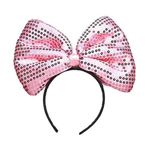 Dream Amy Mickey Mouse Minnie Maus Pailletten Ohren Stirnband Oversized Schmetterling Glitzer Schleife Stirnband - Pink - Einheitsgröße