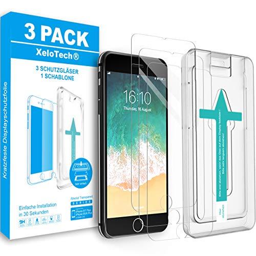 XeloTech 3X Schutzglas für iPhone 8 Plus / 7 Plus mit Schablone zur Positionierung - Panzerfolie aus 9H Glas - Passend für die meisten Hüllen/Cases