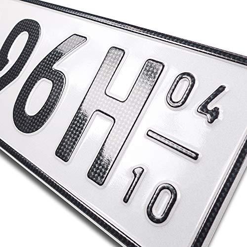 schildEVO 1 Carbon Kfz Kennzeichen | Saison + Historisch | Oldtimer | H | OFFIZIELL amtliche Nummernschilder | DIN-Zertifiziert – EU Wunschkennzeichen mit individueller Prägung | Autokennzeichen
