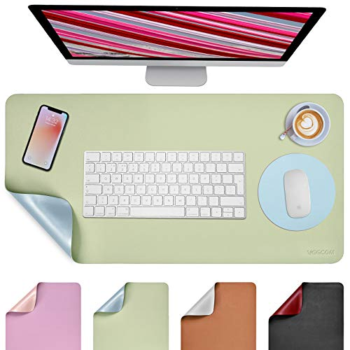 "Desk Pad, Desk Mat, veecom Dual-Sided Desk Protector Laptop Pad, Non Slip Leather Mouse Pad 31.5"" x 15.7"" + 8.66""x8.66"", Waterproof Full Desk Mouse Pad Large Desk Blotter on Top of Desks (Green/Blue)"
