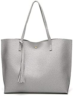 Large capacity Shoulder Bag Shopping Bag Crossbody bag for Women (Silver)