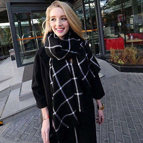 RENYZ.ZKHN Female Winter Long Plaid Shawl Scarf Thick Winter Warm Dual-Purpose Male 80 * 200Cm Collar,Master Graph - Black