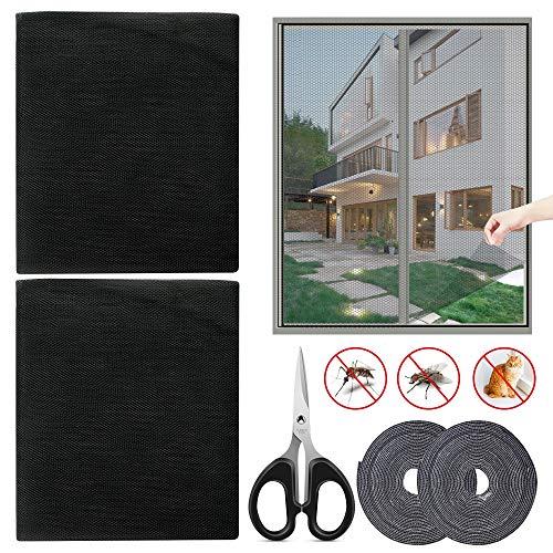 Fliegengitter Insektenschutz mit Schere DIY Fliegennetz Magnetbefestigung für Türen Dachfenster und Fenster Weiss/Grau/Schwarz(2St 150 x 200cm)