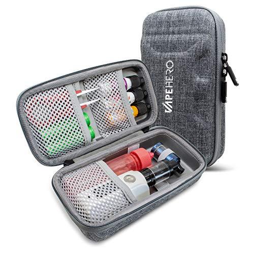 VapeHero® L E-Zigarette Tasche   Dampfer Etui für max. 80ml Liquid und Zubehör   Passend für große Mods   Stoßfest (Large, Grau)