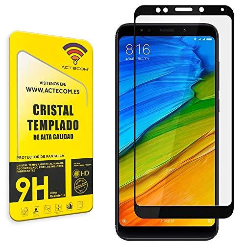 actecom® Protector Pantalla 3D 5D Negro Cristal Templado para XIAOMI REDMI 5 Plus Completo con Marco 2.5D XIAOMI REDMI 5 Plus