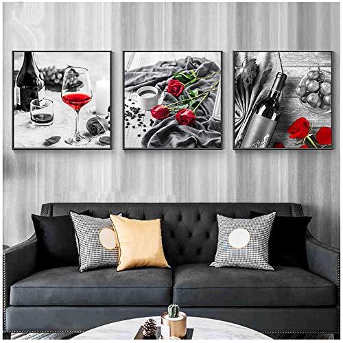 TYLPK Leinwanddrucke & Poster Romantische Küchenmalerei Rotwein Rose Kaffee Schwarz-Weiß-Wandkunst Bild für Wohnzimmer 30x30cm (11,8