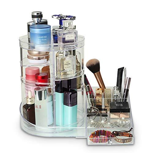 Organiseur de Maquillage 2 en 1 en Plastique Multifonction, boîte de Rangement de Bijoux avec tiroirs avec Rouge à lèvres, 330 x 370 x 225 mm, Grande capacité de Rangement pour Chambre à Coucher