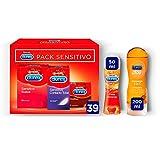Durex Pack Preservativos Sensitivo Suave Contacto Total + Real Feel + Gel de Masaje Estimulate + Lubricante Sabor Fresa - 39 condones