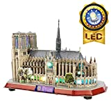 CubicFun Puzzle 3D LED Notre Dame de Paris Rompecabezas 3D Kits de Edificio Modelo Puzzles 3D para Adultos y Adolescentes, 149 Piezas