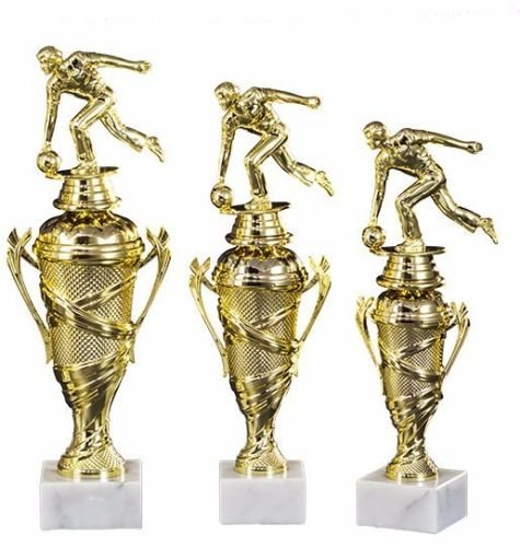 RaRu 3er-Serie Bowling-Pokale (Damen Oder Herren) mit Wunschgravur und 3 Bowling-Anstecknadeln (Sticker) (mit Herren-Figuren)