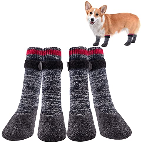 QUACOWW 2 Pairs Dog Socks Anti-Slip Waterproof Rubber Bottom Dog Shoes Rubber Sole Paw Protectors Boots with Adjustable Straps for Indoor Outdoor Wear