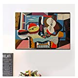 OPBGM Pablo Picasso mandolina y Guitarra Lienzo Pintura Carteles Impresiones Arte de Pared Pintura Cuadros Decorativos decoración del hogar -20X30 Pulgadas sin Marco
