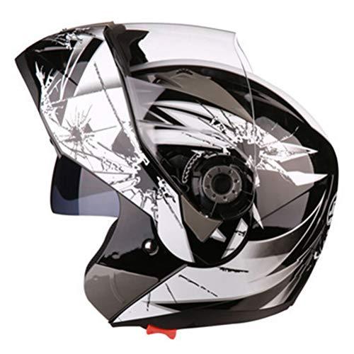 Motesen Caschi da moto modulari per coppie Casco da moto apribile Doppia lente Casco per moto integrale antiappannamento di sicurezza classico